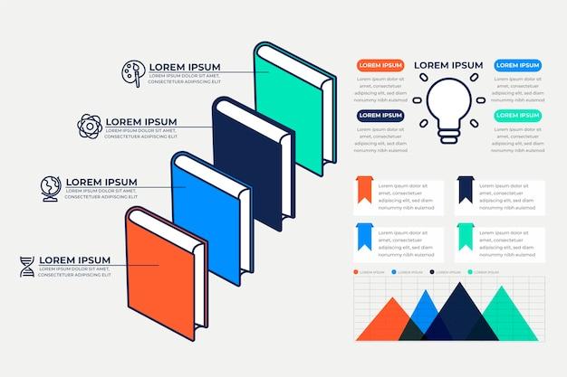 Flat design book infographics