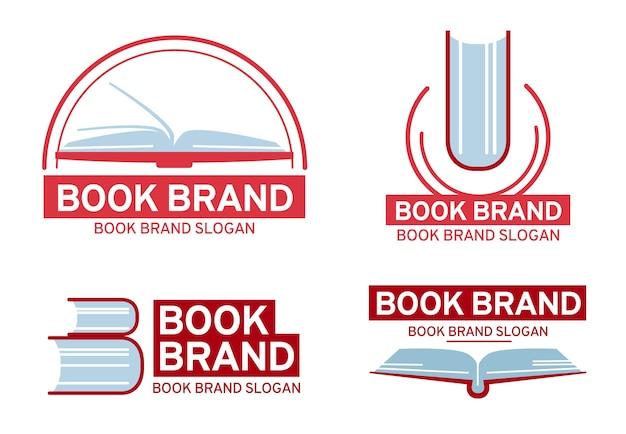 Коллекция логотипов книги в плоском дизайне
