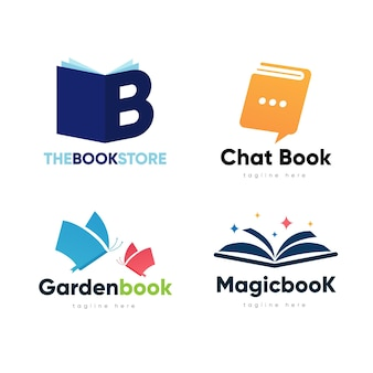 Flat design book logo pack