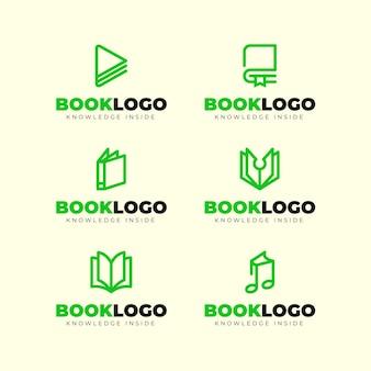Pacchetto logo libro design piatto