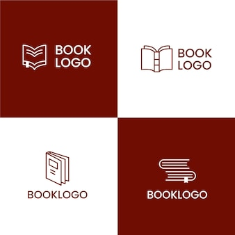 Flat design book logo set