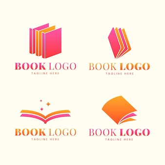 Set di logo del libro design piatto