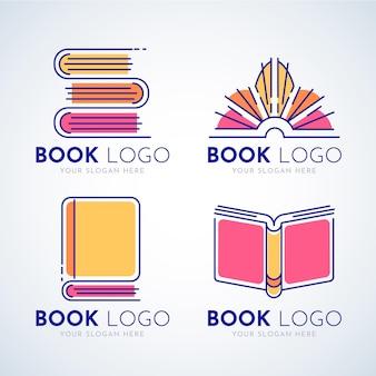 평면 디자인 책 로고 세트