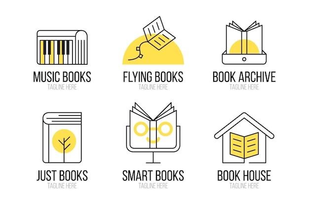 Flat design book logo templates pack