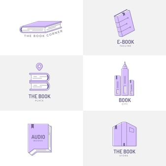 Modelli di logo del libro di design piatto