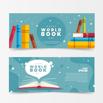 Flat design book lovers day banners