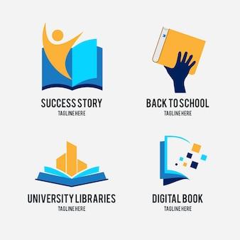 Коллекция логотипов вселенной книги в плоском дизайне
