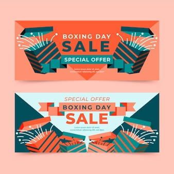 Flat design boxing day event banners pack