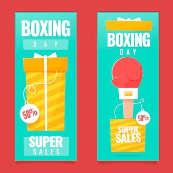 Flat design boxing day event banners set