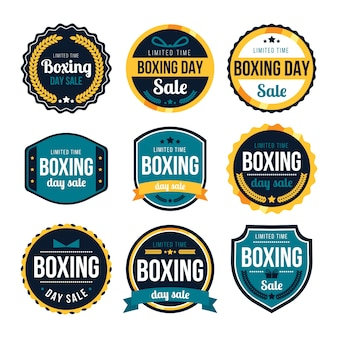 Flat design boxing day sale badge collection Premium Vector