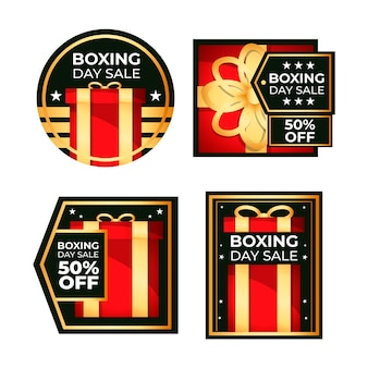 フラットデザインボクシングデーセールバッジコレクション
