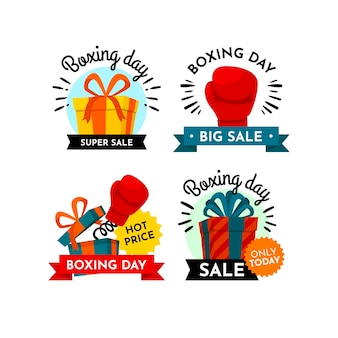 Flat design boxing day sale badge collection