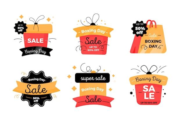 Collezione di badge vendita boxing day design piatto