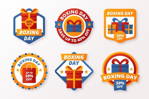 Collezione di badge di vendita di boxe day design piatto