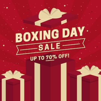 Flat design boxing day sale banner Premium Vector