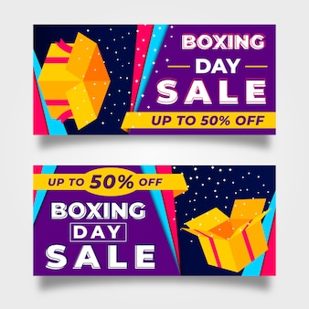 Flat design boxing day sale banners template