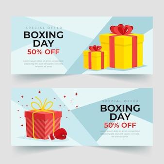 Плоский дизайн шаблона продажи баннеров дня бокса
