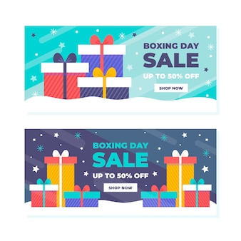 Flat design boxing day sale banners