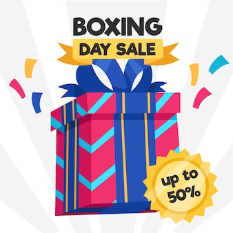 Flat design boxing day sale concept