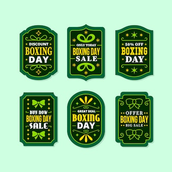 Flat design boxing day sale label collection