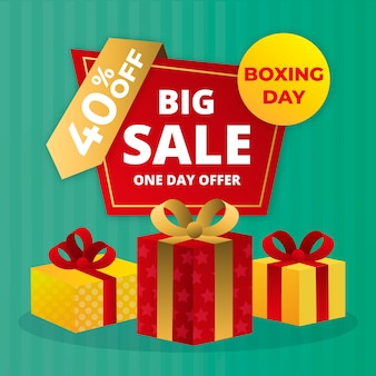 Flat design boxing day sale with 40% off