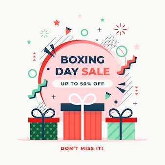 Flat design boxing day sale with discount