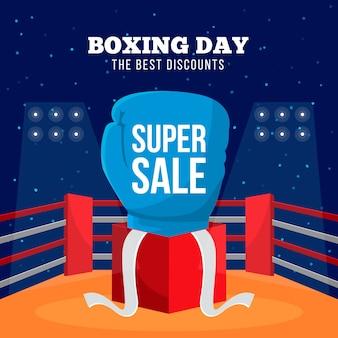 Flat design boxing day super sale banner