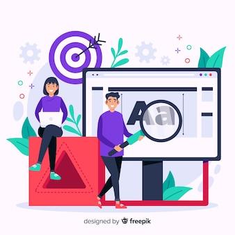 Flat design brand concept illustration
