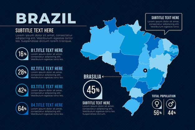 Flat design brazil map infographic