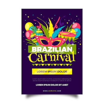 Flat design brazilian carnival flyer with maracas