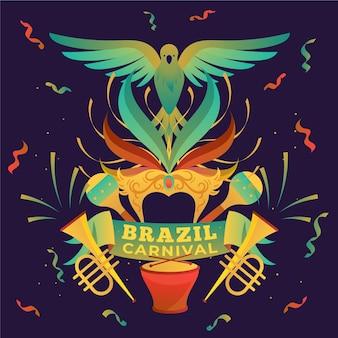 Carnevale brasiliano design piatto illustrato