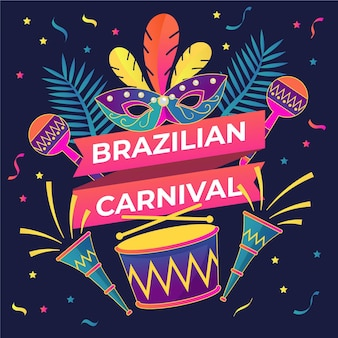 Flat design brazilian carnival illustration