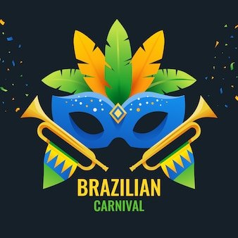Flat design brazilian carnival mask with lettering