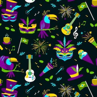 Flat design brazilian carnival pattern theme