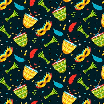 Flat design brazilian carnival pattern with masks