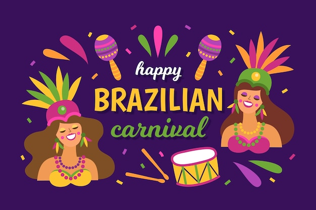 Плоский дизайн бразильский карнавал с женщинами и музыкальными инструментами