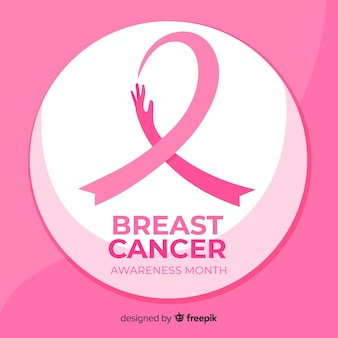 Flat design breast cancer awareness ribbon