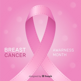 Flat design breast cancer awareness with ribbon