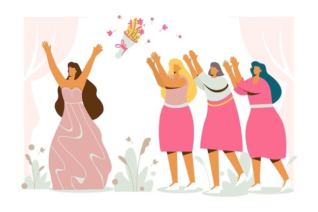 Flat design bridesmaids illustrated