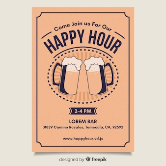 Flat design bright happy hour poster