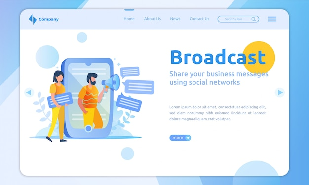 Flat design broadcast landing page template