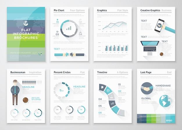 フラットデザインパンフレットおよびインフォグラフィックビジネスエレメント