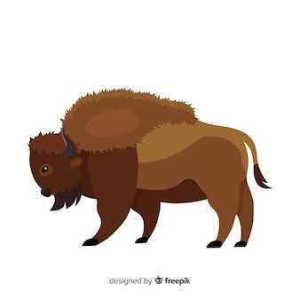 Flat design buffalo animal draw