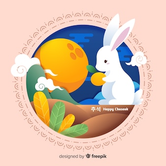 Flat design bunny holding orange