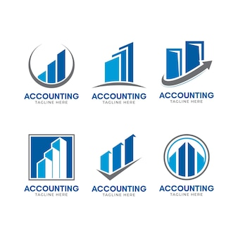 Flat design business accounting logo template