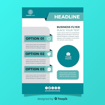 Flat design business flyer template