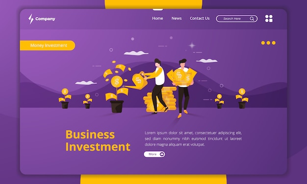 Flat design business investment on landing page template