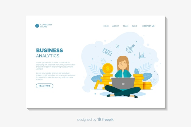 Flat design business landing page template