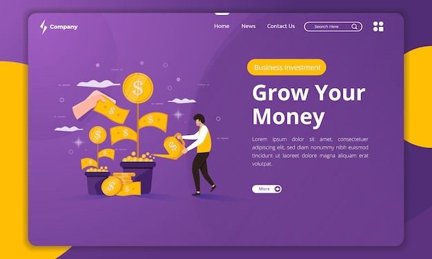 Flat design business money investment on landing page template