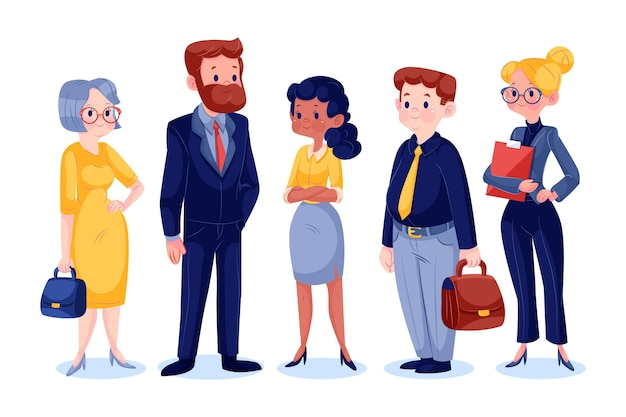 Flat design business people collection